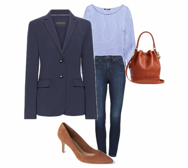 Jeans, a blue blazer, a brown tote bag and suede neutral heels.