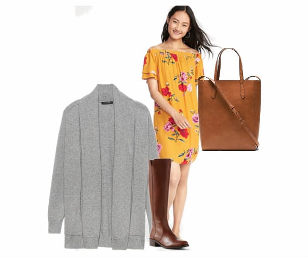 A floral yellow summer dress with a grey cardigan and a brown leather tote bag.