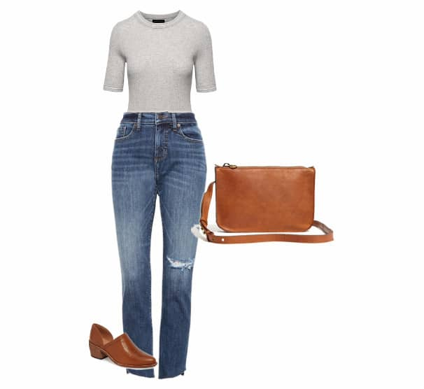 A jean, brown shoes and bag with a grey top.