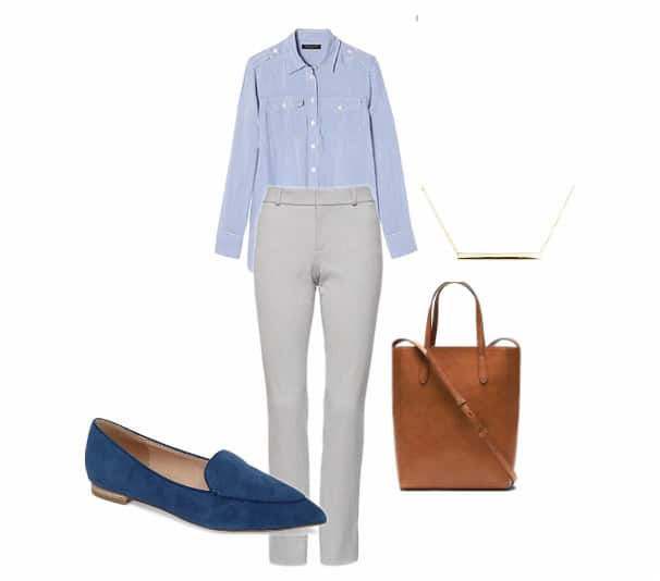 A blue button down shirt for fall, with blue shoes and a camel bag.