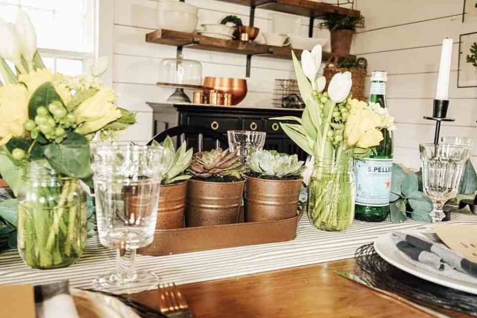 Farmhouse table setting on a budget