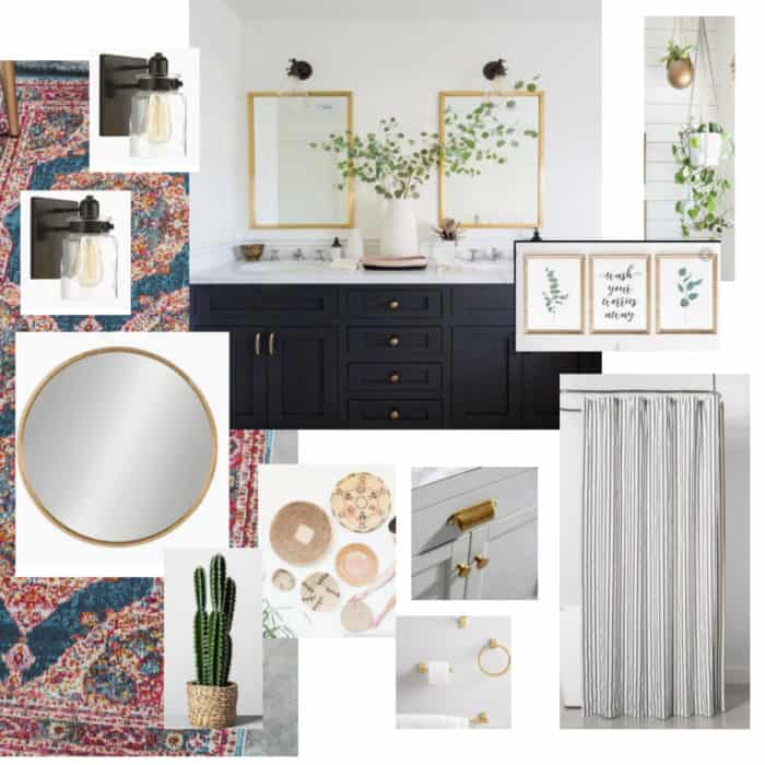 Bathroom vision board with black vanity and gold fixtures.