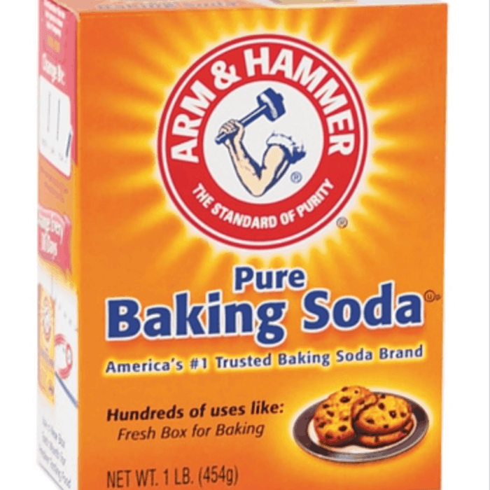 Baking soda in orange box.