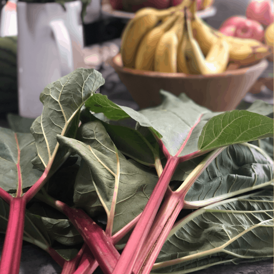 The picked rhubarb on the counter beside a bowl of bananas.