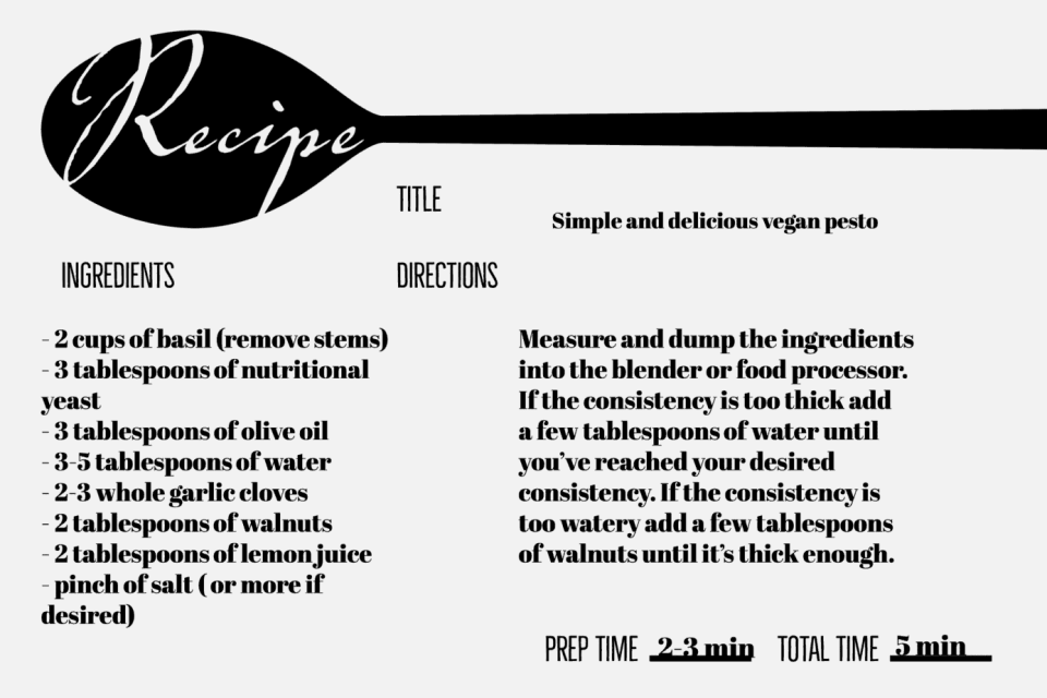 vegan pesto recipe card