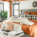 rust colored bedding with large gray bed