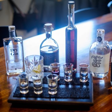 Tastings of gins produced along Tasmania's East Coast are now available at The Farm Shed East Coast Wine Centre