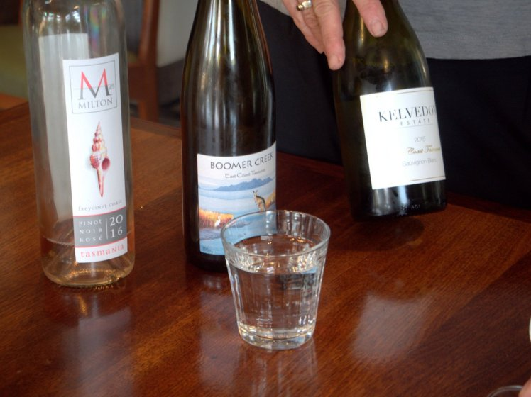 A wine from Kelvedon is sampled during a tasting at the Farm Shed Wine Centre at Bicheno, Tasmania