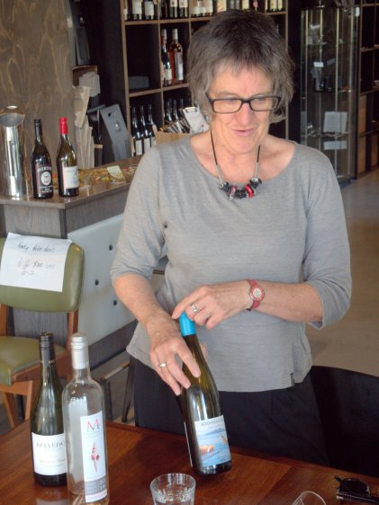Subi Mead from The Farm Shed East Coast Wine Centre leads a guided tasting of wines from Tasmania's East Coast Wine Region