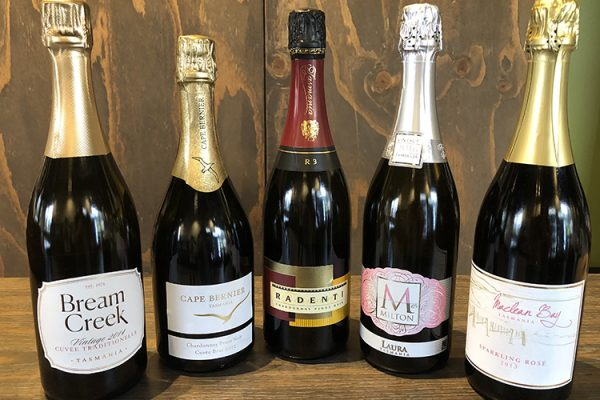 Some of the delightful East Coast Tasmania sparkling wines you'll get to try at Sparklings at the Farm Shed as part of the Great Eastern Wine Weekend, 4-6 September