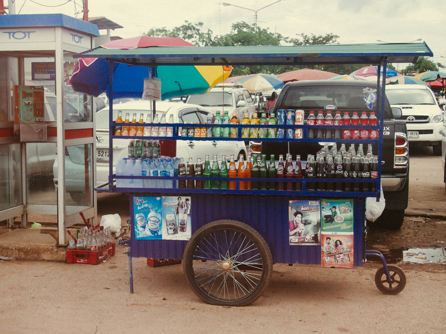 Soft drink cart in Thailand near the border of Laos.