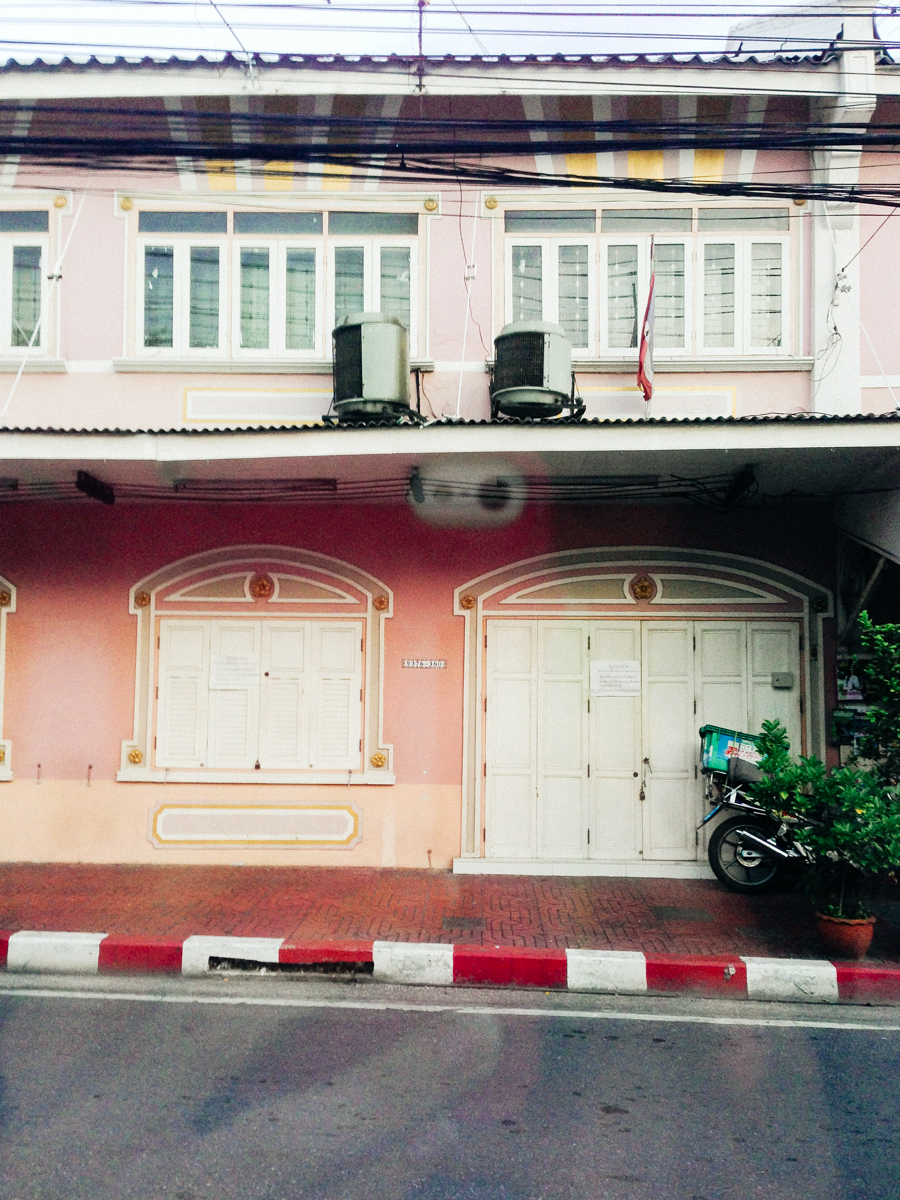 Pink apartments in Bangkok.