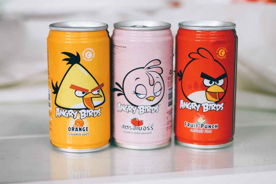 Angry Birds juice cans!