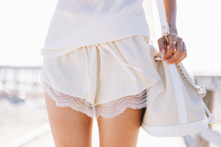 Love the Label ivory silk lace shorts.