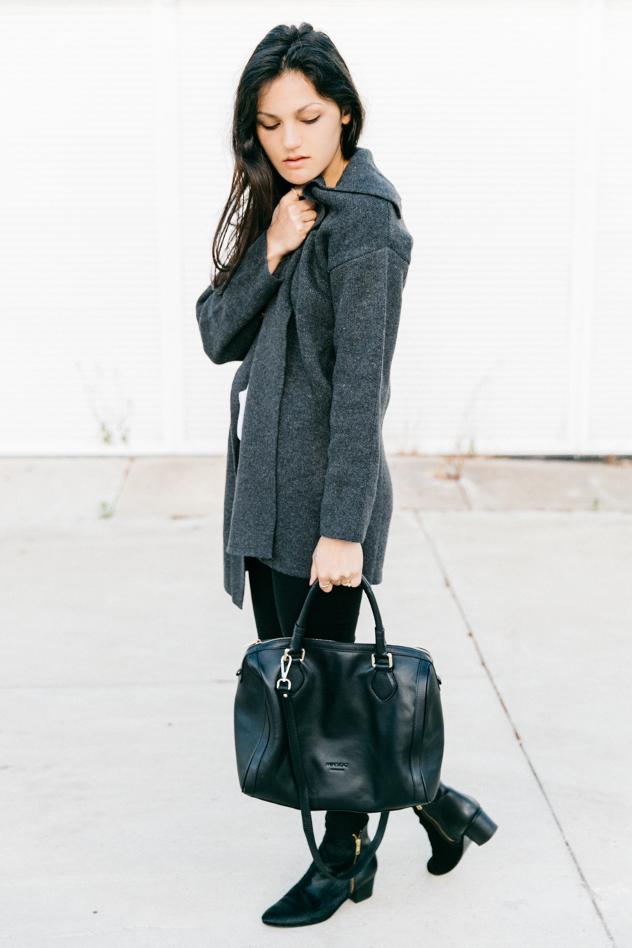 Grey coat with treggings & boots outfit.