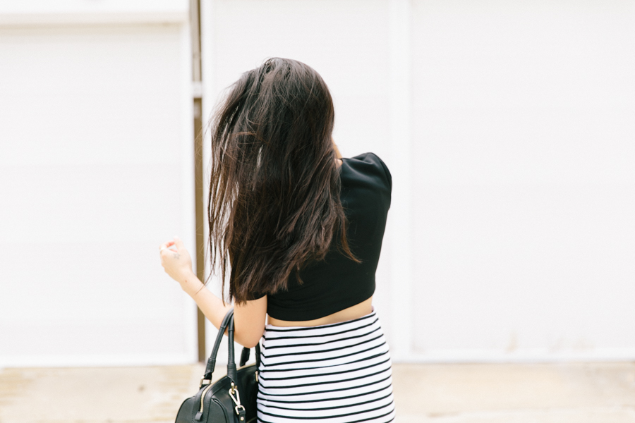 Monochrome style outfit.