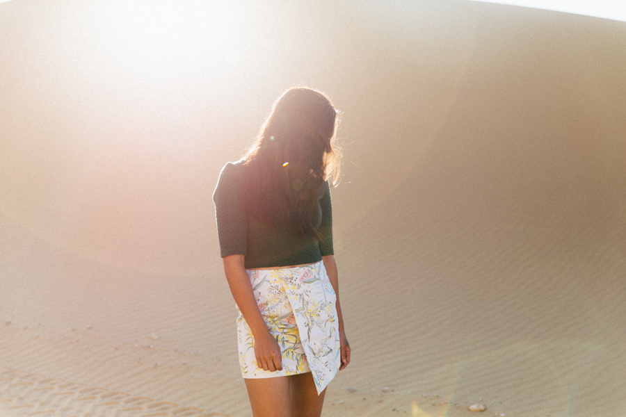 Violet & I wattle print skirt, green quilted crop top.