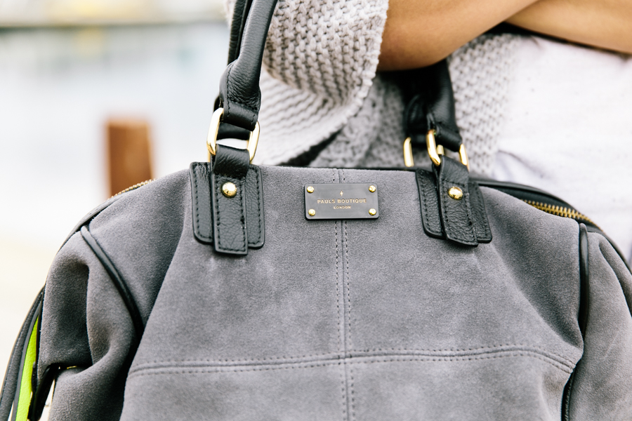 Slouchy suede & leather bag in grey.