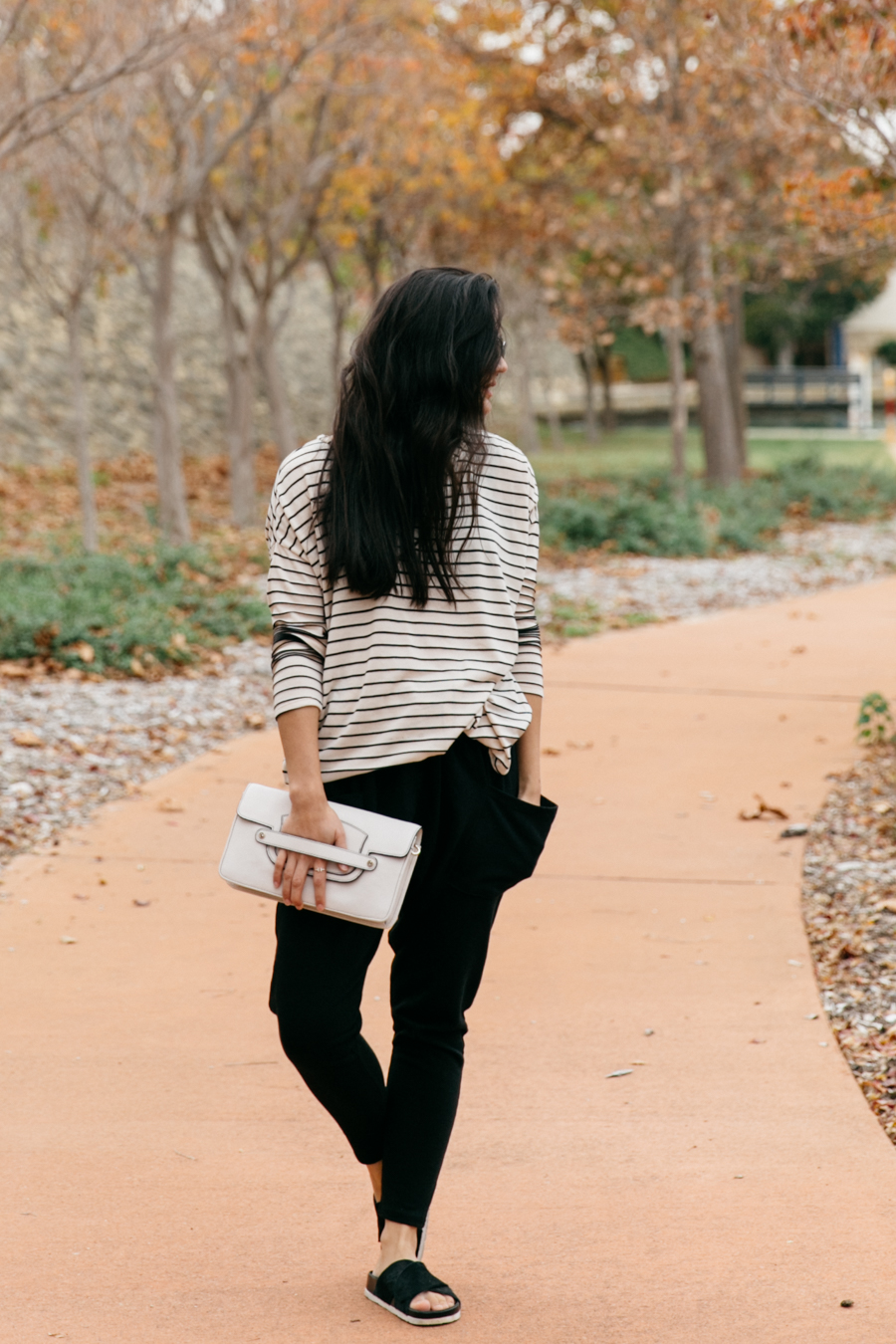 POL Clothing striped top with Queen Shop sweatpants.