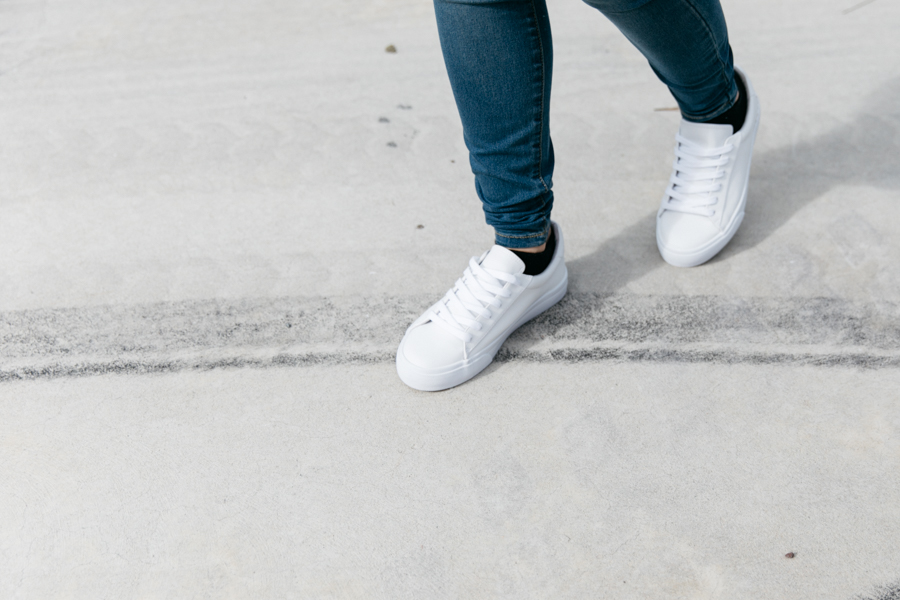 ASOS white lace up trainers, white sneakers outfit.