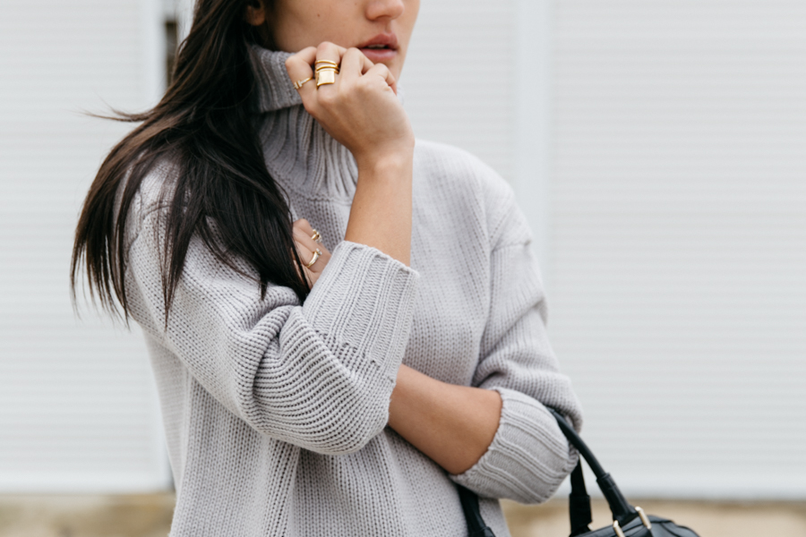 ThePeachBox Coil Melt ring & Style Moi grey turtle neck sweater.