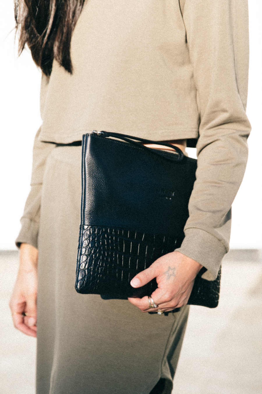 Minskat Copenhagen Lea XL clutch. Black leather croc clutch.
