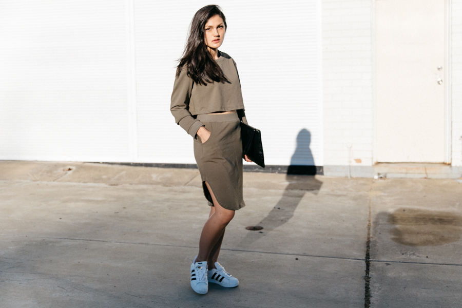 Khaki sweater & skirt from Shein.