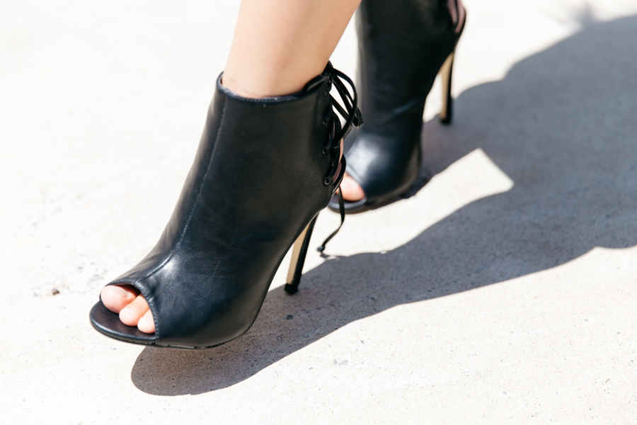 Black ankle boots with peep-toe.