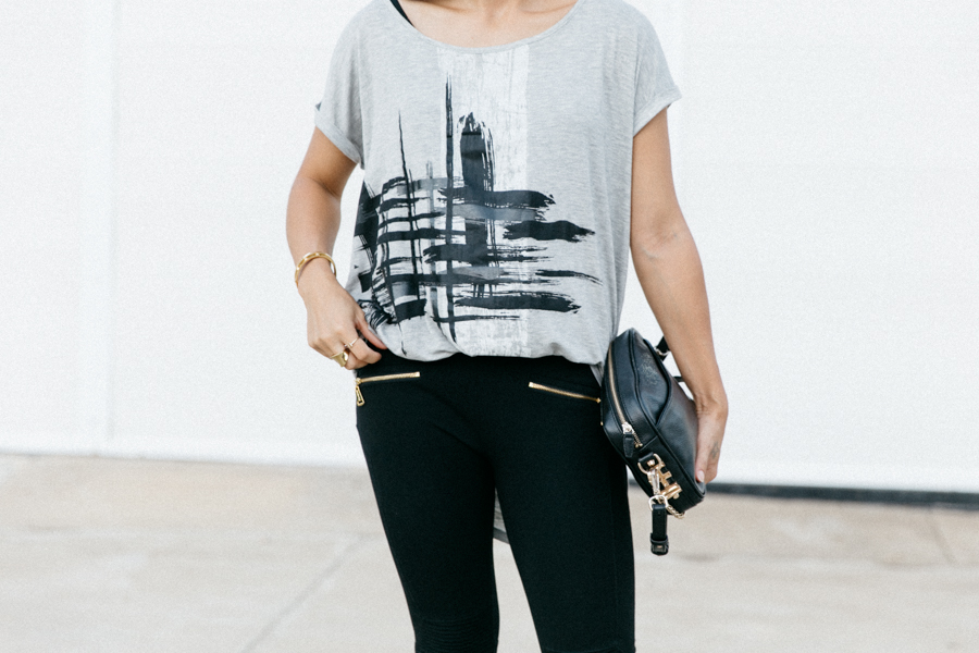 Casual weekend street style outfit wearing FATE Intaglio tee.