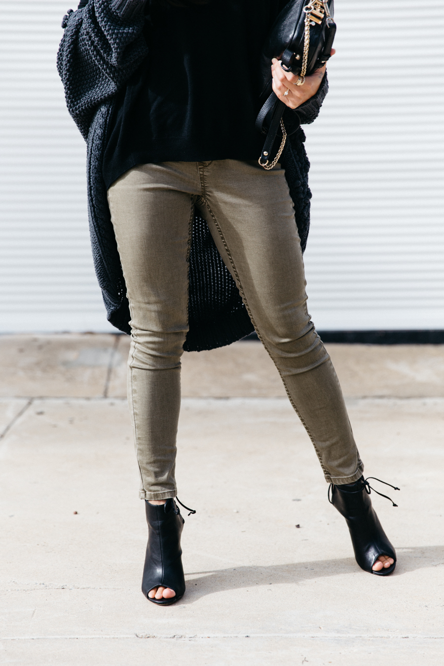 Khaki jean jeggings.
