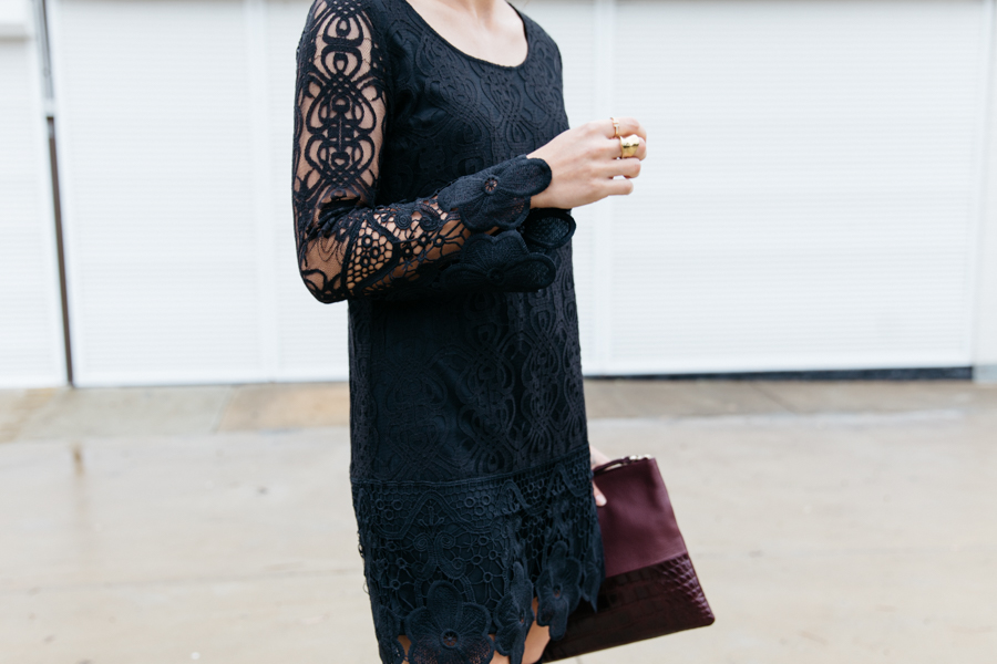 Lace dress outfit & maroon clutch.