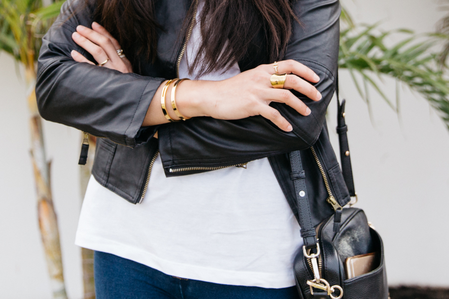 Black leather with gold accessories.