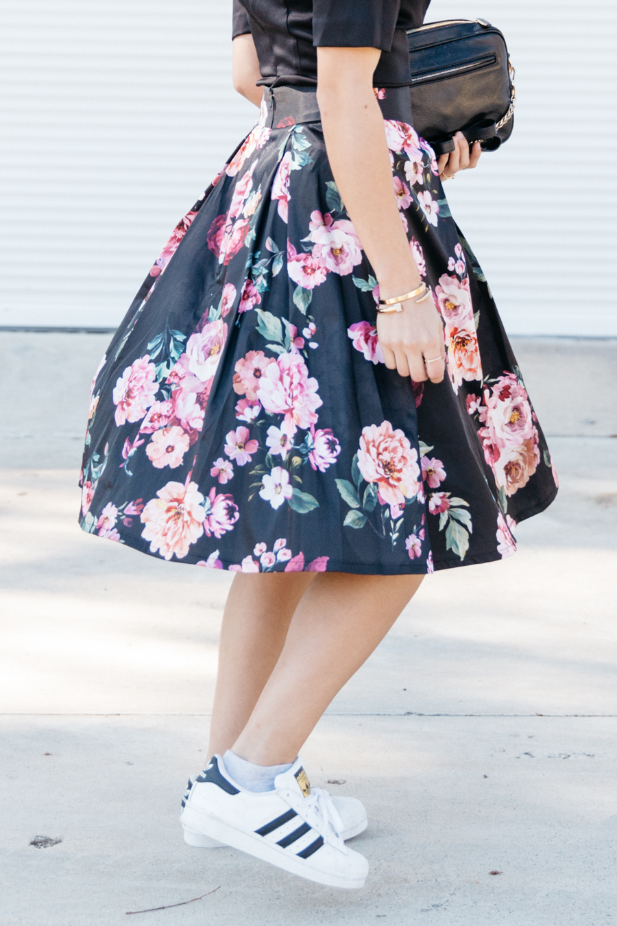 Floral box skirt street style.