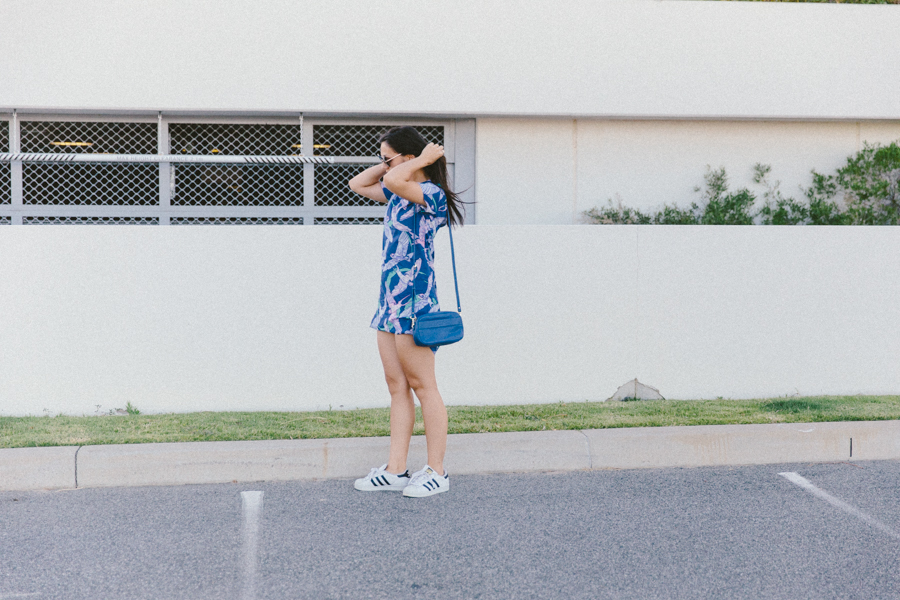 Bright blue summer outfit. 80s style summer outfit.