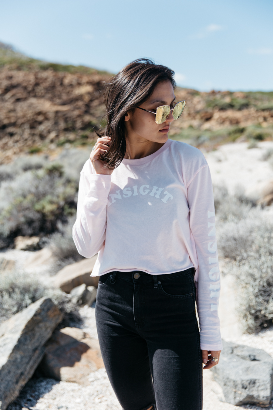 Pink crop top long sleeve, ZeroUV pink oversized sunglasses.