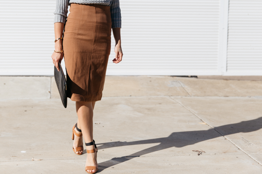 Forcast clothing brown pencil skirt.