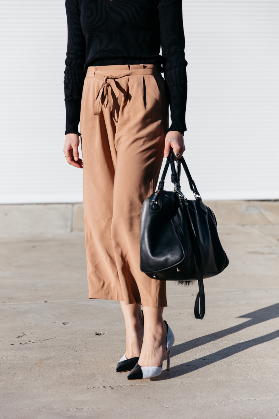 Brown culottes outfit.
