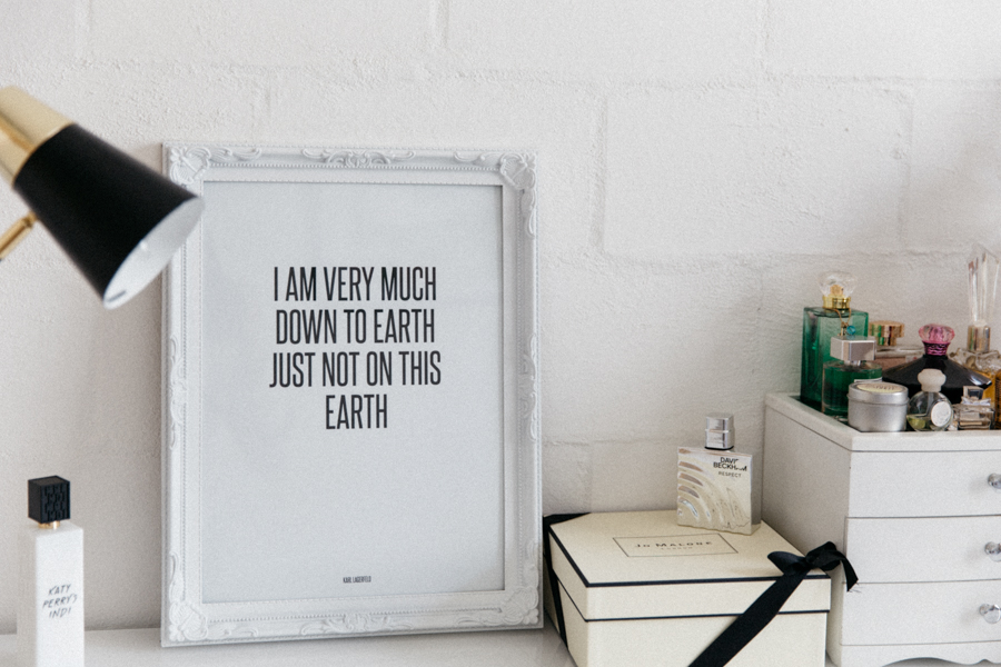 Karl Lagerfeld quote print - I am very much down to earth, just not on this earth. Desenio review.