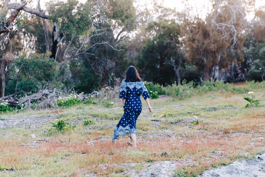 Mandurah blogger, bohemian maxi dress with split.