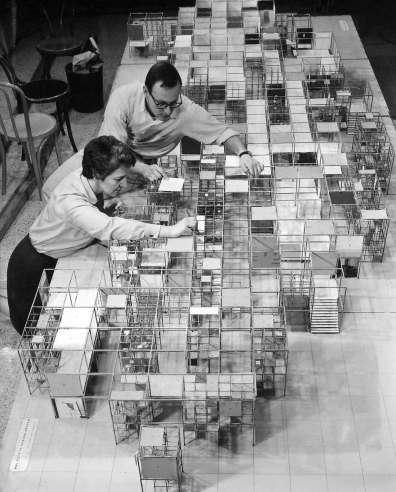 Two-of-Nelson's-office-team--with-a-model-of-his-mixed-use-space-concept-known-as-Jungle-Gym-that-was-shown-at-the-American-National-Exhibition-in-Moscow,-1959