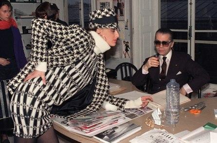 Top model Inès de la Fressange and Lagerfeld discusses designs in March 1987