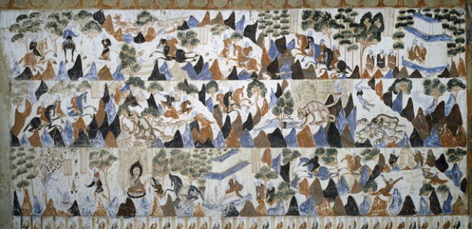 A mural painting showing a prince sacrificing himself to feed a group of starving tigers in Mogao cave 428, (Northen Zhou, 557-581AD)