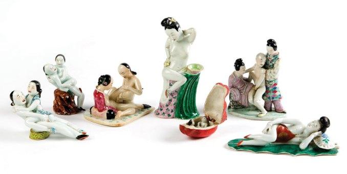 A set of seven small porcelain figures