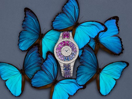 Butterfly Motif rainbow sapphire and white diamond watch