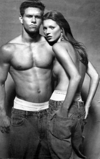 Kate Moss Marky Mark ad for Calvin Klein jeans