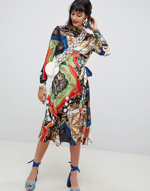 ASOS midi dress with pleated skirt in scarf print