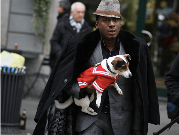 "Fashion Insider & MLJ MEDIA, LLC. Founder Marcellous L. Jones and Phaedra L. Jones (aka ""The Fashion Pup) photographed leaving the Ports 1961 show in Milan."