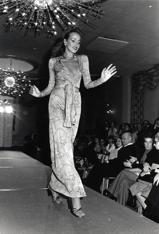 JERRY HALL models for Diane von Furstenberg