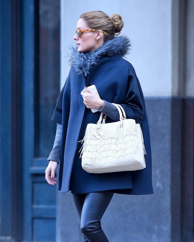 "Olivia Palermo with her ""DUCHESS"" bag by CH Carolina Herrera."