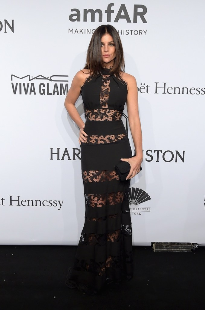 Julia Restoin Roitfeld in  a Philipp Plein Spring/Summer 2015 dress at the amfAR New York Gala